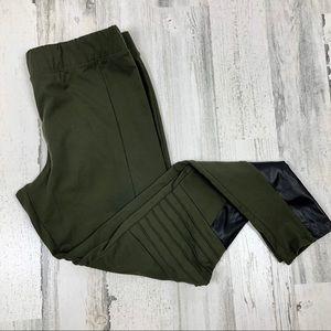 Rune NYC olive green moto leggings